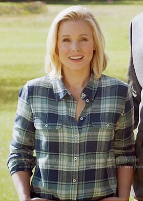 Eleanor's blue plaid shirt on The Good Place