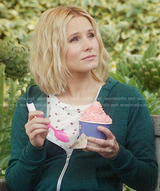 Eleanor's rose print tee and green hoodie on The Good Place