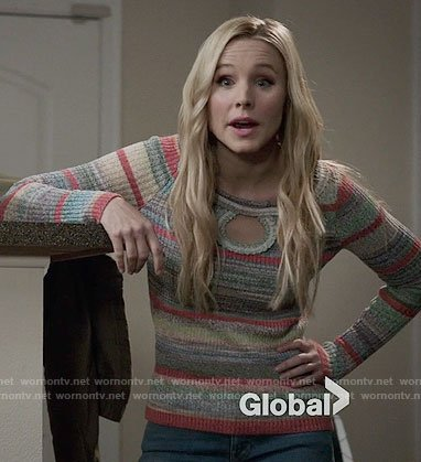 Eleanor's striped keyhole sweater on The Good Place