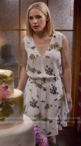 Eleanor's yellow and black floral dress on The Good Place