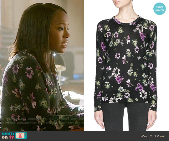 Equipment Sloan Floral Cashmere Sweater worn by Aja Naomi King on HTGAWM