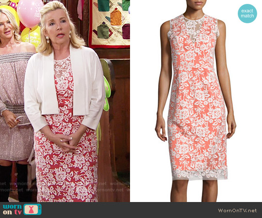 Erin Fetherston Sleeveless Lace-Overlay Cocktail Dress worn by Melody Thomas-Scott on The Young & the Restless