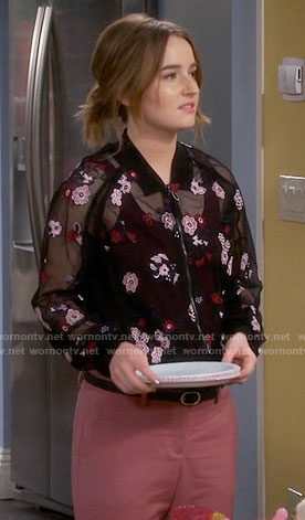 Eve's sheer embroidered bomber jacket and pink pants on Last Man Standing