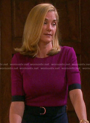 Eve's magenta and navy belted dress on Days of our Lives