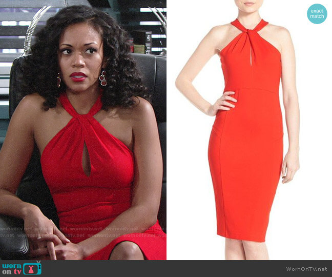 Felicity & Coco Halter Neck Midi Dress worn by Mishael Morgan on The Young & the Restless