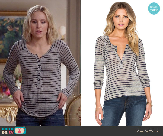 Frame Denim Le Henley Raglan Tee in Navy Stripe worn by Kristen Bell on The Good Place