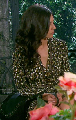 Gabi's black floral and stripe print long sleeve dress on Days of our Lives