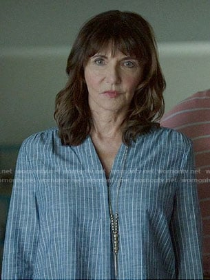 Gail's blue striped split neck top on The Last Man on Earth