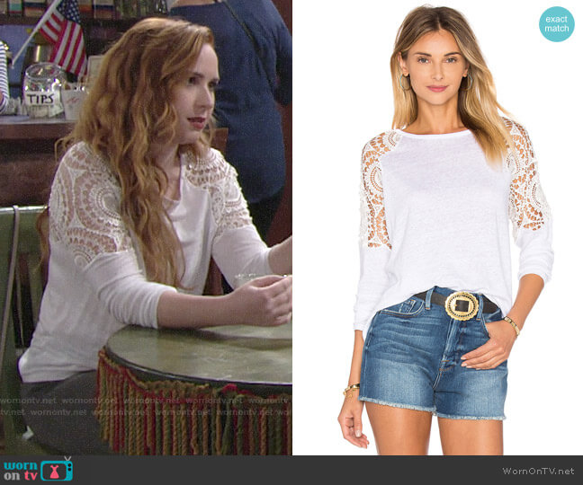 Generation Love Veronica Linen Top worn by Camryn Grimes on The Young & the Restless