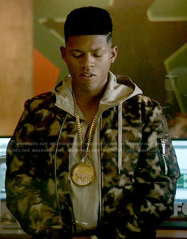 Hakeem's camouflage jacket on Empire