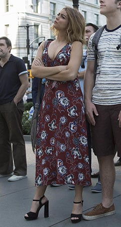 Haley's burgundy floral tie-front dress on Modern Family
