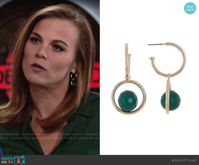 Halogen Semiprecious Stone Double Drop Hoop Earrings worn by Phyllis Newman (Gina Tognoni) on The Young & the Restless