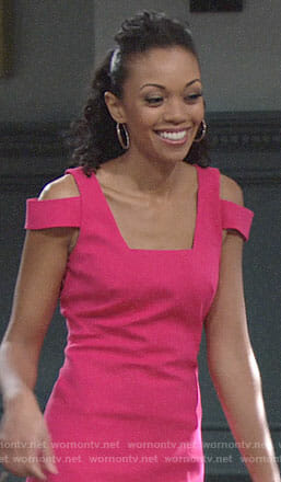 Hilary's pink cold shoulder dress on The Young and the Restless