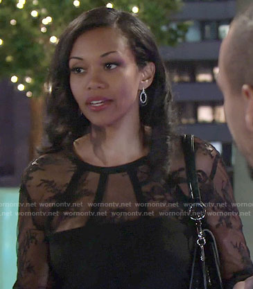 Hilary's black lace long sleeved top on The Young and the Restless