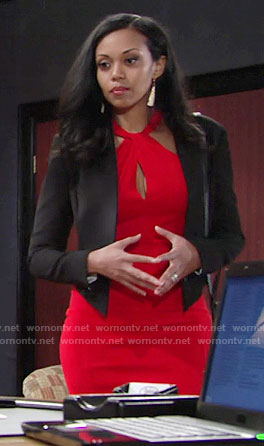 Hilary's red cross neck dress and black blazer on The Young and the Restless