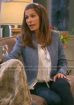 Hope's white lace-up blouse and chambray blazer on Days of our Lives