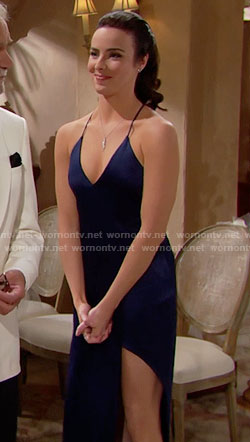 Ivy's blue satin gown with split on The Bold and the Beautiful