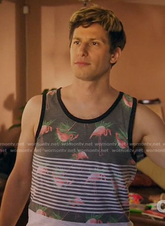 Jake's striped flamingo print tank top on Brooklyn Nine-Nine