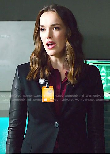 Jemma's red blouse, leather sleeve blazer and platform sneakers on Agents of SHIELD