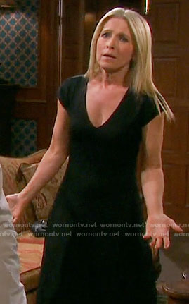 Jennifer's black v-neck midi dress on Days of our Lives