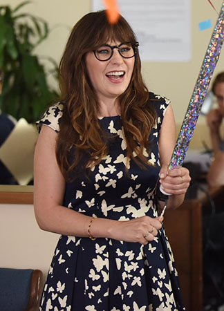 Jess's butterfly print dress on New Girl