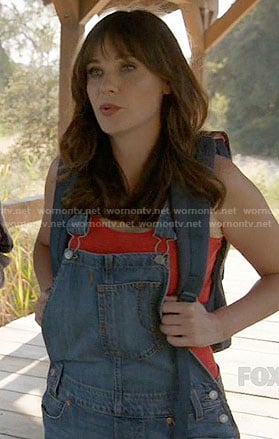 Jess's denim overalls on New Girl