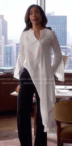 Jessica's long white asymmetrical blouse on Suits