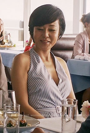 Karen's blue striped hatlerneck dress on Mistresses