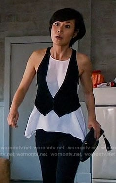 Karen's black and white layered waistcoat top on Mistresses