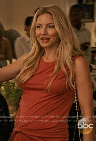 Kate's red gathered front dress on Mistresses