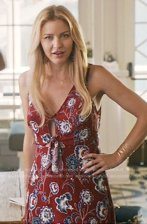 Kate's red floral tie-front midi dress on Mistresses
