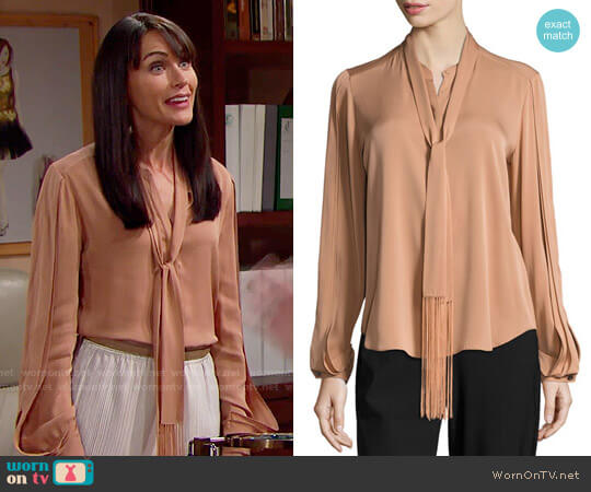 Kobi Halperin Tara Fringed Tie-Neck Stretch-Silk Blouse worn by Quinn Fuller (Rena Sofer) on The Bold & the Beautiful