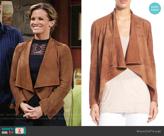 LaMarque 'Madison' Drape Front Suede Jacket worn by Chelsea Lawson on The Young & the Restless