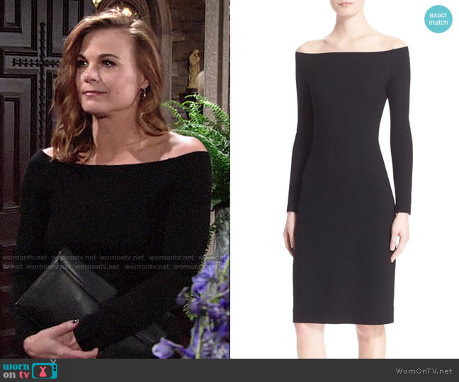 L'Agence Off the Shoulder Sheath Dress worn by Phyllis Newman (Gina Tognoni) on The Young & the Restless