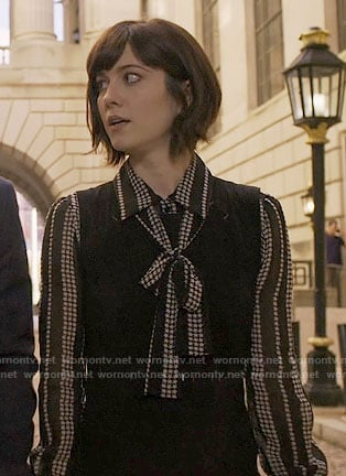 Laurel's black star print blouse on BrainDead