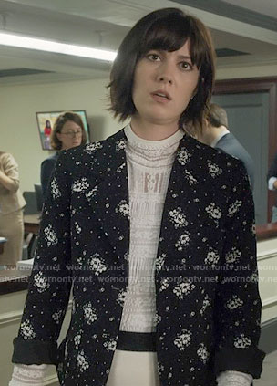 Laurel's white lace top and black floral blazer on BrianDead