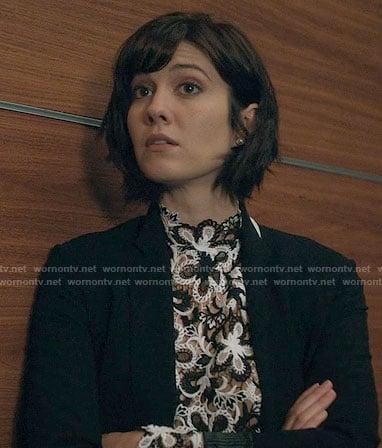 Laurel's light brown cropped cardigan on BrainDead