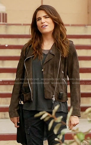 Laurel's brown moto jacket on How to Get Away with Murder