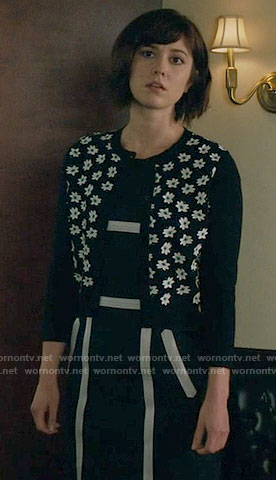 Laurel's floral cardigan on BrainDead