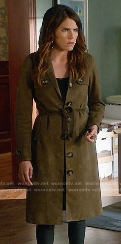 Laurel's suede trench coat on How to Get Away with Murder