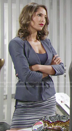 Lily's chambray belted jacket and striped skirt on The Young and the Restless