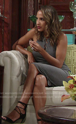 Lily's grey lace-up dress on The Young and the Restless