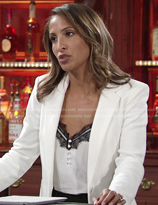Lily's white top with black lace trim on The Young and the Restless