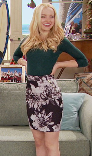 Liv's black and white floral skirt and green sweater on Liv and Maddie