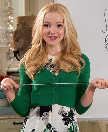 Liv's green floral top and cropped cardigan on Liv and Maddie