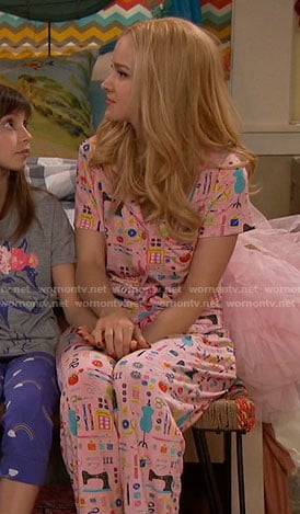 Liv's pink sewing print pajamas on Liv and Maddie