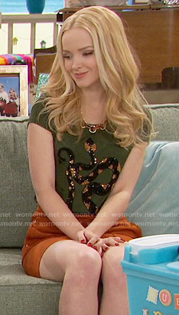 Liv's green snake top and orange skirt on Liv and Maddie