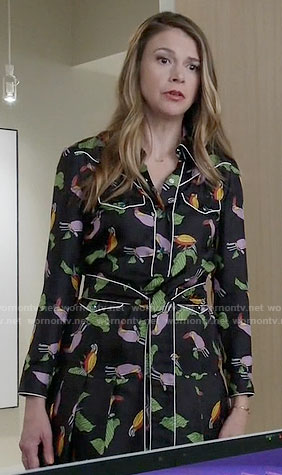 Liza's bird print shirtdress on Younger