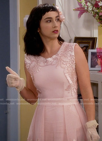 Mandy's pink embroidered dress on Last Man Standing