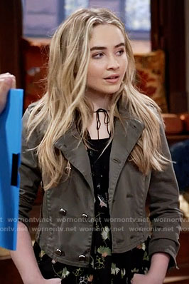 Maya's black floral top and cropped double breasted jacket on Girl Meets World